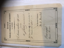MARCHE ÉCOLE PRIMAIRE 1851-1852 Certificat De Fréquentations Des Cours JADOT - Diploma & School Reports