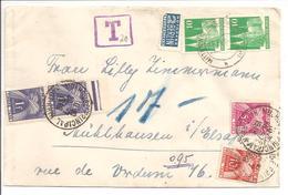 Lettre Deutsche Post Bauten>68 Mulhouse.Taxe(Geres)Em.3-2x1Fr & 5Fr & 10Fr= 17Fr - Portomarken
