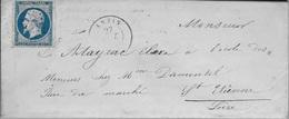 NAPOLEON N°14A Sur LSC + LOSANGE PC 97 D'ANZIN POUR SAINT-ETIENNE 1855 - Marcophilie (Lettres)