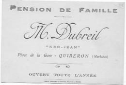 PUBLICITE QUIBERON PENSION DE FAMILLE DUBREIL - Cartes De Visite