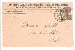 Administration Des Mines Domaniales Françaises Service Du Contrôle Sarrebruck-Saarbrücken. - 1920-35 Saargebiet – Abstimmungsgebiet