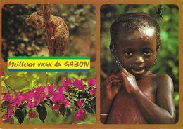 Meilleurs Voeux Du Gabon - Multivues: Nandinie (cilvette), Bougainvillée, Gamine Prenant Son Bain - Gabon