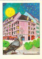 Hotel Basel Am Spalenberg - Illustration Mario Grasso (M.G.) Pigeon Au Claire De Lune - Carte Non Circulée - Hotels & Restaurants