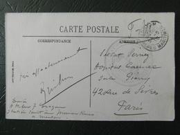 """1916 - WW1 CACHET MILITAIRE """" STATION SANITAIRE DE MENTON """" CP CAP MARTIN FM FRANCHISE Pr PARIS - Poststempel (Briefe)"""