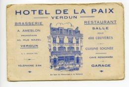Piece Sur Le Theme De Carte De Visite Publicitaire - Hotel De La Paix - Verdun - Cartes De Visite