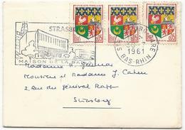 ENVELOPPE CARTE DE VISITE 1961 AVEC 3 TIMBRES BLASON D'ORAN - Marcophilie (Lettres)