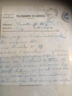 Télégramme Compagnie Inter. Des Wagons Lits - Bruxelles 1895 + Cachet à Voir - Telegraph