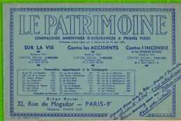 BUVARD & Blotter Paper : LE PATRIMOINE ASSURANCE .Bleu - Banque & Assurance