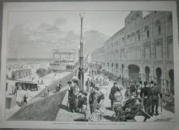 Blankenberge, De Dijk: 19e Eeuwse Houtgravure. - Estampes & Gravures