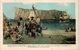Canada - Jacques Cartier Et Percé Rock , Gaspé , Québec 1534 , From Painting By J.D. Kelly In Possession Of The Confeder - Gaspé