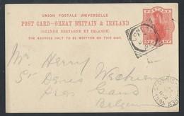 7gb.Postcard. Mail 1895 London (United Kingdom) St. Denis (Belgium). - 1840-1901 (Victoria)
