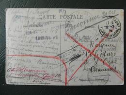 """1915 - CACHET MILITAIRE """" PLACE DE CHALON SUR SAONE & 8E CORPS D'ARMÉE HOPITAL TEMPORAIRE """" Sur CP MARQUES RETOUR RAE - Marcophilie (Lettres)"""