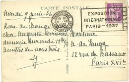 LOIRE INFERIEURE - Dépt N° 44 = NANTES GARE 1936 = FLAMME FLIER   ' EXPOSITION INTERNATIONALE PARIS 1937   ' - Marcophilie (Lettres)
