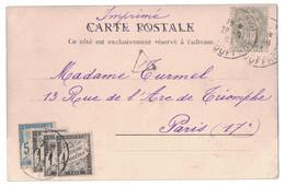 1903 - N° 107 SEUL SUR CARTE POSTALE Au TARIF IMPRIMÉ CAD PARIS JOUFFROY TAXÉE À 8c Avec TAXE N° 10 1c X 3 + 5c - 1900-29 Blanc