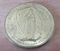 """France - Médaille Religieuse Lourdes """"Avec Bernadette, Prier Le Chapelet"""" - Métal Doré - Diam 34mm, Poids 16g - France"""