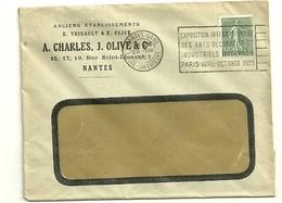 LOIRE INFERIEURE - Dépt N° 44 = NANTES GARE 1923 = FLAMME FLIER   ' EXPOSITION / ARTS DECORATIFS MODERNES PARIS 1925 ' - Marcophilie (Lettres)