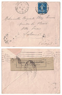 1916 - LETTRE SEMEUSE Pour LE PORTUGAL Avec BANDE Et MARQUE DE CENSURE CAD TRESOR ET POSTES 9 CONTROLE POSTAL WW1 - Marcofilia (sobres)