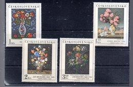 TCHECOSLOVAQUIE 2187/2190** SUR DES TABLEAUX DES GALERIES NATIONALES  DES FLEURS DONT BRUEGHEL - Tchécoslovaquie