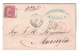 """1866 - LETTRE COVER 40c NAPOLI ITALIA Pour MARSIGLIA FRANCE CACHET D'ENTRE ROUGE """" ITALIE MARSEILLE """" MAZZARELLI - Marcophilie (Lettres)"""