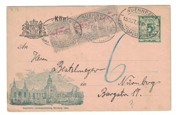 "1896 - BAYERN Privatganzsache ENTIER CARTE POSTALE ILLUSTRÉE "" Landesausstellung Nürnberg "" TIMBRES COMPLEMENT NUERNBERG - Bavière"