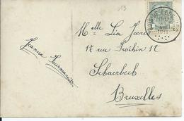 Fantasiekaart Met OCB 81 - Afstempeling BOIS-DE-LESSINES - COBA 50 - 1893-1907 Armoiries