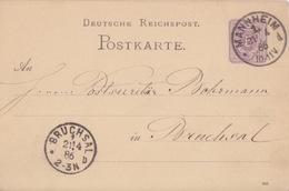 C Entier 5pf Violet P 12 Deutsche Reichpost Postkarte An... (885) Obl. Mannheim 1 D Le 21/4/86 - Allemagne