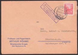 Streckenwalde über Marienberg Sachsen, Fernbrief 12.3.57 Poststellenstempel, Pressspan- U. Pappenfabrik - [6] République Démocratique