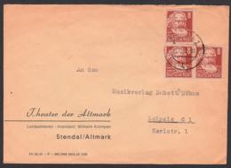 Stendal Altmark Fernbrief 1.11.52 Mit 8 Pf. (3) Karl Marx Aus Köpfe I, Theater Der Altmark Portogenau, Intendant Krampen - DDR