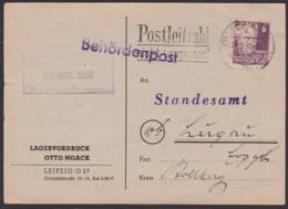 Leipzig MWSt. 24.3.50 Mit 6 Pf.  Gerhart Hauptmann, Köpfe I, Behördenpost Lagervordruck Postleitzahl Nicht Vergessen - [6] République Démocratique