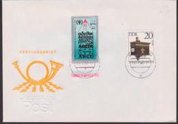 Alphabetsierung DDR 30+10 Pf MiNr. 3353 In MiF Mit 20 Pf Historische Briefkästen, FDC Für ABC-Marke 24.7.90 - [6] République Démocratique
