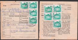 DDR Paketkarte Mit 50 Pf DM-Währung Brandenburger Tor In MeF(9) Aus Falkenberg Nach Pforzheim, Postinterna 15.11.90 - [6] République Démocratique