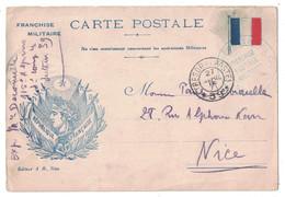1915 - CARTE POSTALE CORRESPONDANCE MILITAIRE DRAPEAU REPUBLIQUE FRANCAISE Ed NICE CAD TRESOR POSTES 39 CHASSEURS ALPINS - Cartes De Franchise Militaire