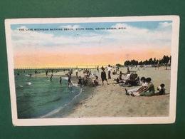 Cartolina The Lake Michigan Bathing Beach - State Park - Grand Haven - 1934 - Cartoline