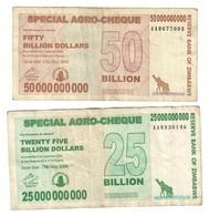Zimbabwe Lot Set 25 & 50 Billions - Zimbabwe