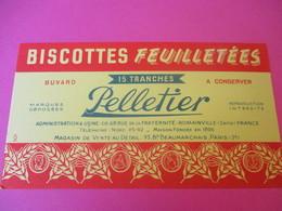Buvard/Biscottes/  Pelletier/Biscottes Feuilletées/15 Tranches/ ROMAINVILLE/(Seine)//Vers 1940-60  BUV387 - Zwieback