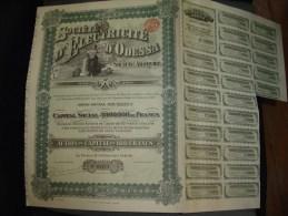 """Action De Capital""""Sté D'electricité D'Odessa  Action De Dividende Belle Lithographie 1910 Ukraine Russie/Russia - Electricité & Gaz"""