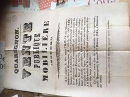 QUAREGNON 1844 Vente Publique Suite Décès -belle Gravure à Voir - Affiches