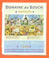 étiquette Autocollante Vin Jurançon Cuvée Paul Mirat 1995 Domaine De Souch à Laroin - 75 Cl - Vin De Pays D'Oc