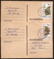LITHUANIA / Litauen 1995 Mi 589-90 Butterflies / Schmetterlinge On Postcards - Lithuania