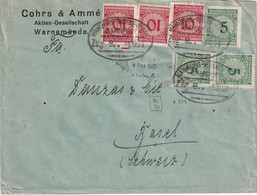 ALLEMAGNE 1923  LETTRE DE WARNEMÜNDE  ZUGSTEMPEL HAMBURG-WARNEMÜNDE - Allemagne