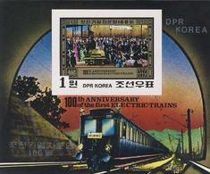 MVT-BK2-361 MINT PF/MNH ¤ KOREA 1980 BLOCK IMPERF. ¤ HISTORY OF TRAINS CHEMINS DE FER EISENBAHN FERROVIE - Trains