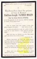 DP Emilien J. Vander Molen ° Hoegaarden 1836 † Ukkel Uccle 1915 X Sidonie Stapel - Images Religieuses