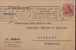 Germania YT 123 40 Pf CAD Hamburg 1 10 20 Flamme Deutsche Luft Reederei Flugpostverkehr Auskunft Hamburg Amerika Linie - Allemagne