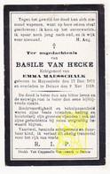 DP Basile Van Hecke ° Ruiselede 1871 † Deinze 1918 X Emma Maesschalk - Images Religieuses