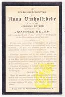 DP Anna VanHollebeke ° Knokke 1821 † Westkapelle 1903 X H. Gryson Xx J. Selen - Images Religieuses