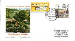 """BRD Schmuck-FDC  """"Viktualienmarkt München"""", Mi. 2379 ZF Selbstklebend ESSt 8.1.2004 BERLIN ZENTRUM - BRD"""