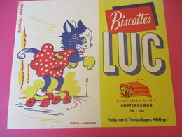 Buvard/Biscottes/LUC//CHATEAUROUX/400 Gr/Chatte Patineuse/ SOFOGA//Vers 1940-60  BUV399 - Zwieback