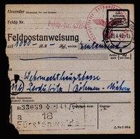 A5913) DR Feldpostanweisung ü. 1000 RM Fürstenwalde 03.04.45 N. Pardubitz - Briefe U. Dokumente