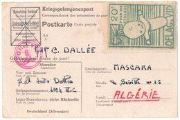 Kriegsgefangenenpost GUERRE CAMP MÜNSTER DALLEE Kriegsgefangenenlager OFLAG VI D VIGNETTE TIMBRE STALAG MASCARA ORAN - Marcophilie (Lettres)