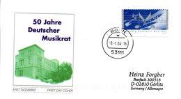 """BRD Schmuck-FDC  """"50 Jahre Deutscher Musikrat"""", Mi. 2380 Selbstklebend ESSt 8.1.2004 BONN - BRD"""